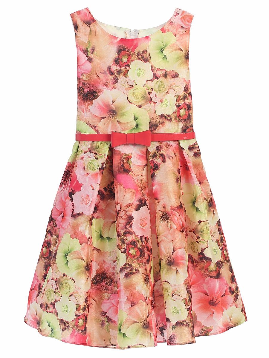 pink mixed modern flower dress w belt