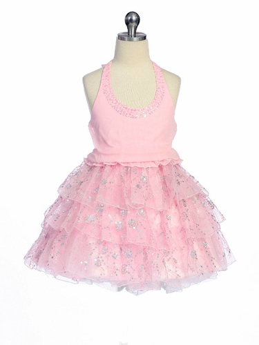 Pink Pageant Girl Dress - Organza Halter Top Dress