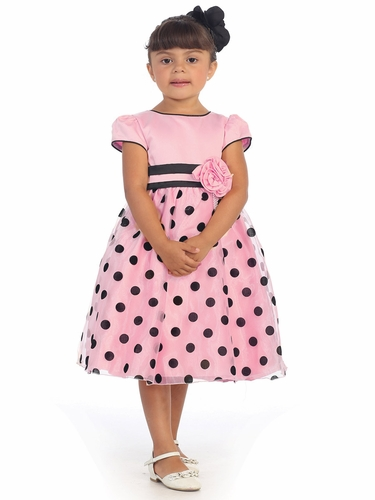 Pink Polka Dot Dress w/ Flower