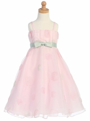 Pink Polka Dot Embroidered Organza A-Line Dress