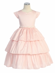 Pink Poly Dupioni Dress w/Braided Trim
