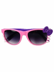 Pink/Purple Junior Smoke Gradient Polycarbonate Lens Sunglasses w/ Bow
