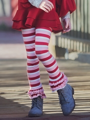 Pink/Red Persnickety Candy Cane Collection Leighton Leggings