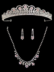 Pink Rhinestone Tiara w/ Necklace & Earrings