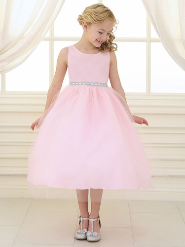 Pink Rhinestone Waistband Tulle Dress