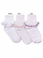 Pink Rose Chain Lace Girl Socks