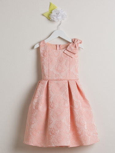 Pink Rose Jacquard Dress w/ Shoulder Bow