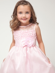 Pink Ruffled Organza Dress w/Satin Trim Bodice