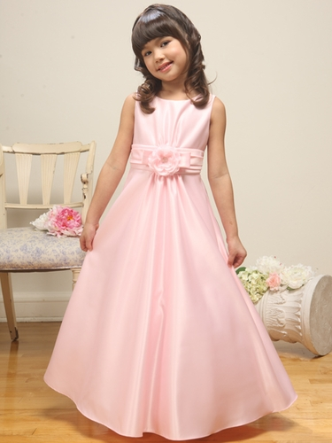 Pink Satin A-line Sleeveless Dress