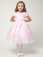 Pink Satin Rhinestone Top w/Organza Skirt Dress