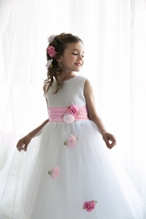 Pink Satin Tulle Dress w/ Sash & Floating Flowers