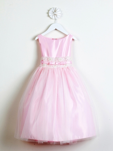 Pink Satin w/ Metallic Lace Dress
