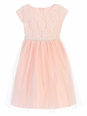 Pink Sequin Embroidered Lace w/ Tulle Dress