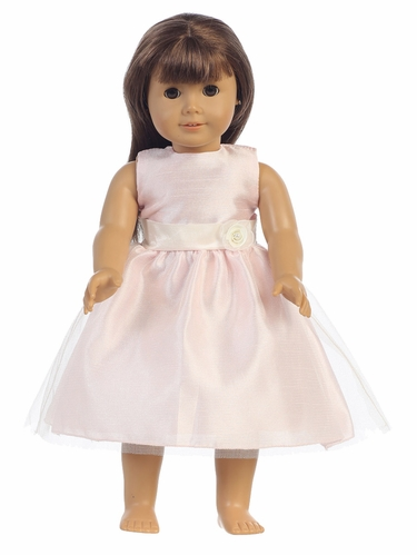 "Pink Shantung Bodice w/ Tulle 18"" Doll Dress"