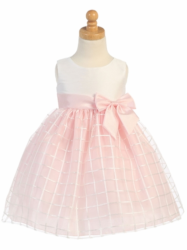 Pink Shantung & Organza Dress w/ Bow
