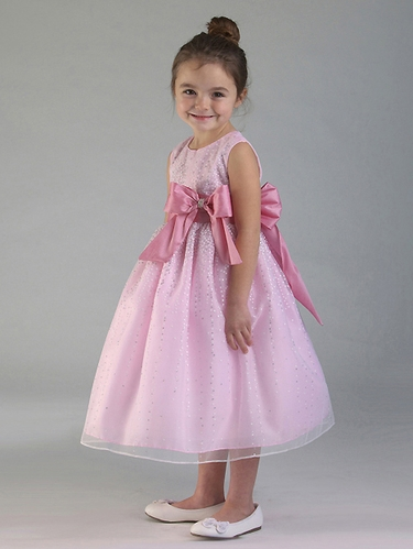 Pink Shimmering Dotted Sleeveless Dress w/ Satin Bow