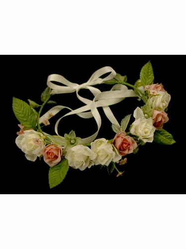 Pink Silk Flower Head Wreath