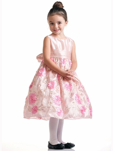 Pink Sleeveless Floral Embroidered Dress with Sash