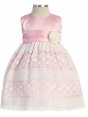 Pink Taffeta Dress w/ Lace Overlay
