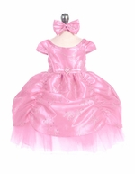 Pink Taffeta Embroidered Cinderella Baby Dress