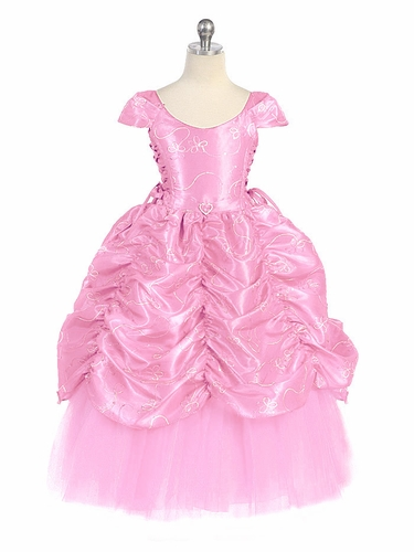 Pink Taffeta Embroidered Cinderella Dress