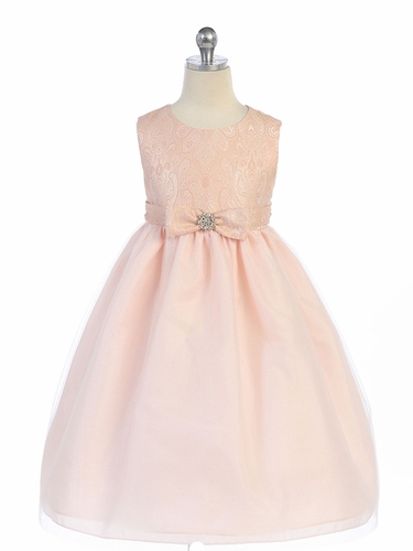 Pink Textured Bodice w/ Bow & Rhinestone Dress