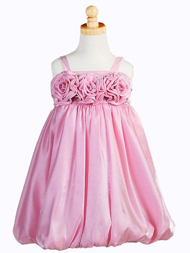 Pink Triple Rosebud Shimmering Dress