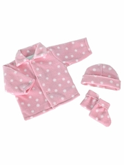 Pink w/ White Dots Poly Fleece Bootie Set