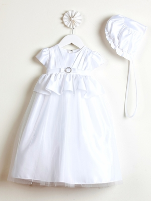 Pleated Satin Peplum Christening Dress w/ Bonnet