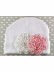 PLH Bows White Vintage Flowers Hat