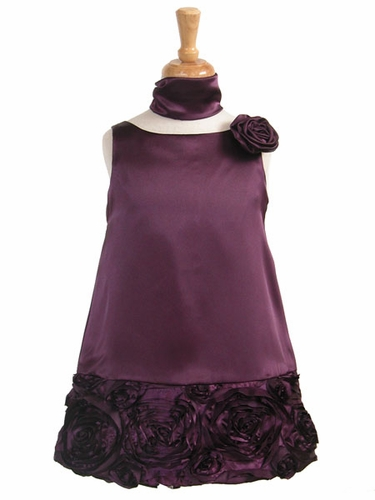 Plum Charmeuse w/Ribbon Embroidered Bottom and Pinned Flower