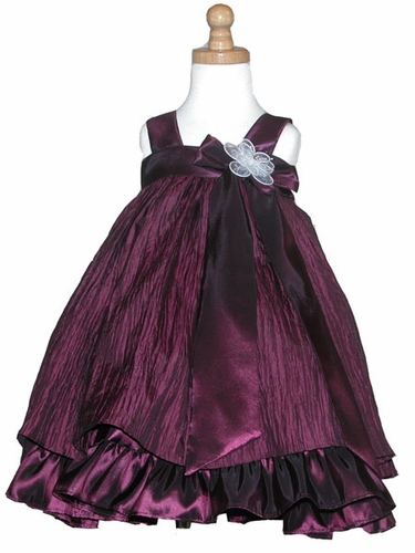 Plum Crinkled Taffeta Dress w/ Bow & Flower
