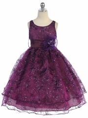 Plum Two Layer Embroidered Organza Dress