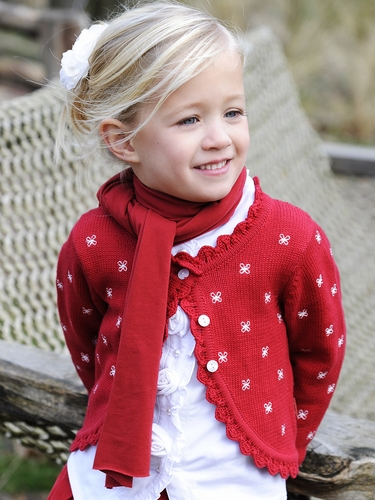 Pom Pom Gwen Red Dress Cardigan