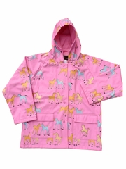Ponies on Pink Raincoat