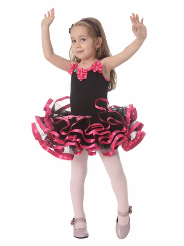 Popatu Black Dance Dress w/ Satin Hot Pink Ribbon & Roses
