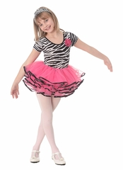 Popatu Cap Sleeve Zebra Top Hot Pink Bottom Dance Dress