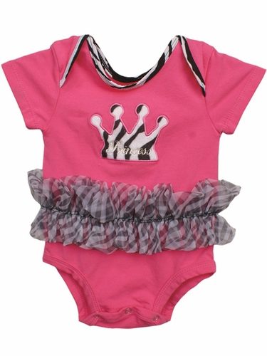 Popatu Hot Pink Baby Zebra Onesie w/Crown