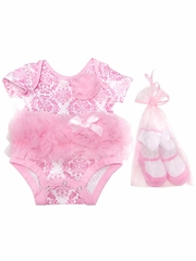 Popatu Pink Damask Pattern Onesie w/ Socks Set