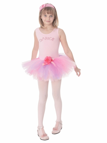 "Popatu Pink ""Dance"" Dress w/Rhinestones & Multicolor Tutu"