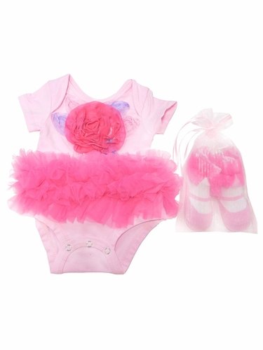 Popatu Pink Flower Onesie w/ Sock Set