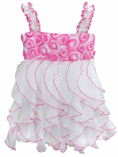 Popatu White w/ Hot Pink Rosette Wave Dress