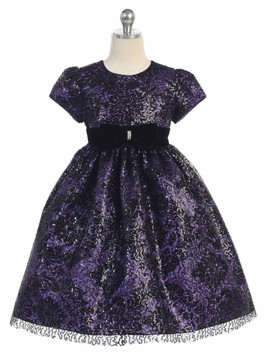 Purple & Black Floral Lace Overlay Dress w/ Velvet Waistband
