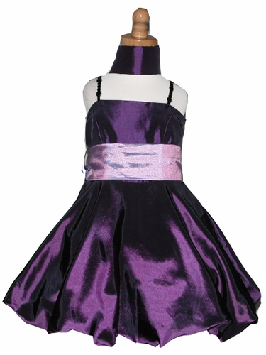 Purple Bubble Dress w/ Bead Shoulder Straps