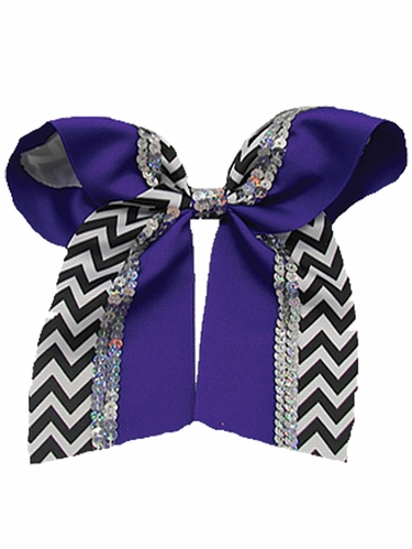 Purple Chevron Cheer Bow