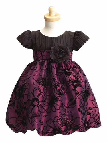 Purple Crushed Taffeta Bodice w/ Flocked Taffeta Skirt