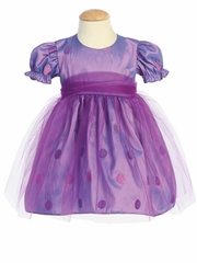 Purple Embroidered Polka-Dot Taffeta Baby Dress w/Tulle Overlay
