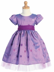 Purple Embroidered Polka-Dot Taffeta Dress w/Tulle Accents