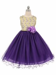Purple Floral Jacquard Bodice w/ Tulle Dress