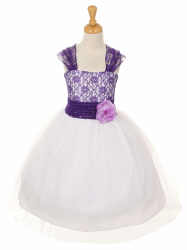 Purple Floral Lace Dress w/ Cross Back & Tulle Skirt
